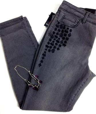 59 Style Co  Grey Regular Size Embroidered Mid Rise Skinny Leg Denim Jeans 12