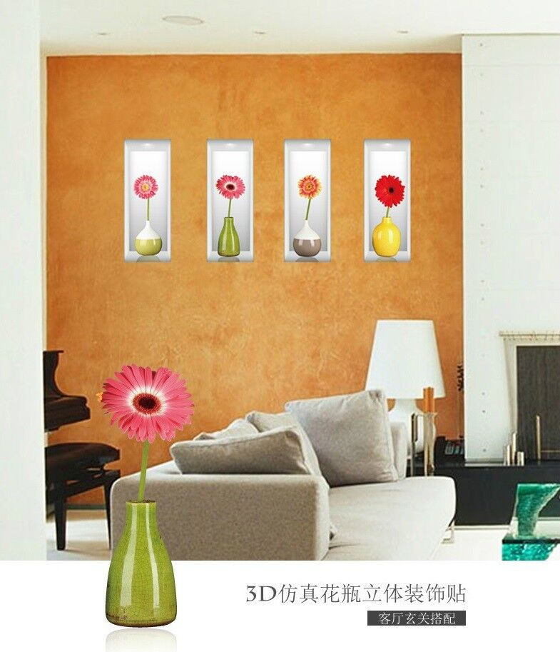 DIY Removable 3D Flowers Vase Home Decal Living Room Decoration Wall Sticker 2 Decals, Stickers & Vinyl Art