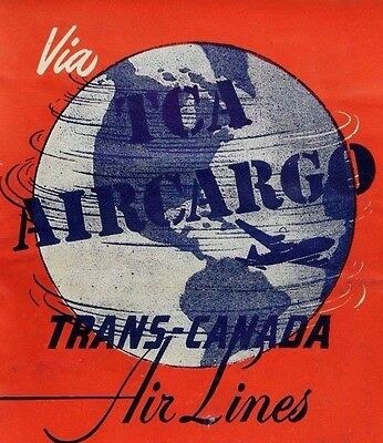1930S 40S Trans Canada Air Lines Tca Air Cargo Luggage Label Fabulous   G