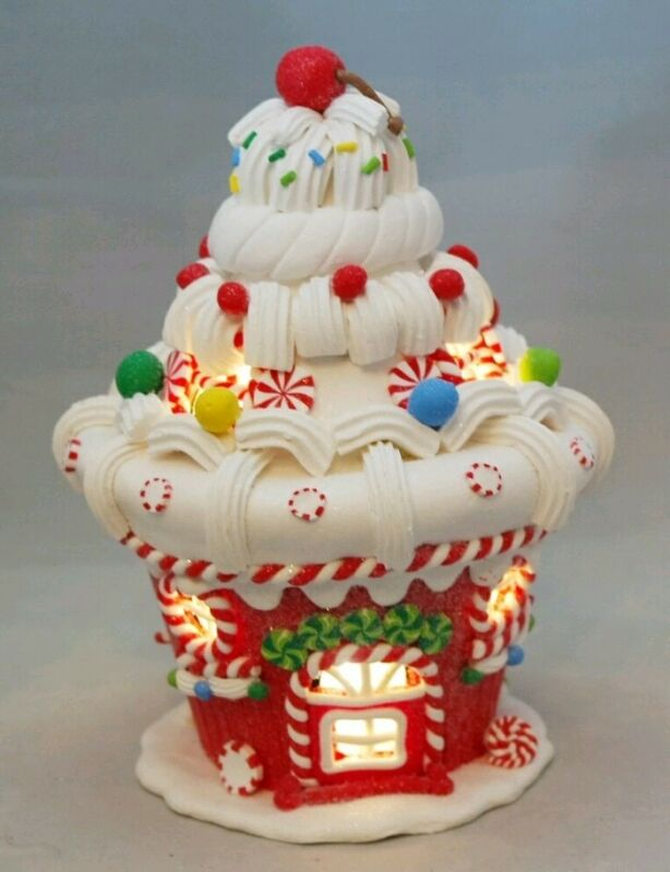 "Gingerbread House Cupcake Christmas LED Light Up Round Clay-dough 8"" Kurt Adler"