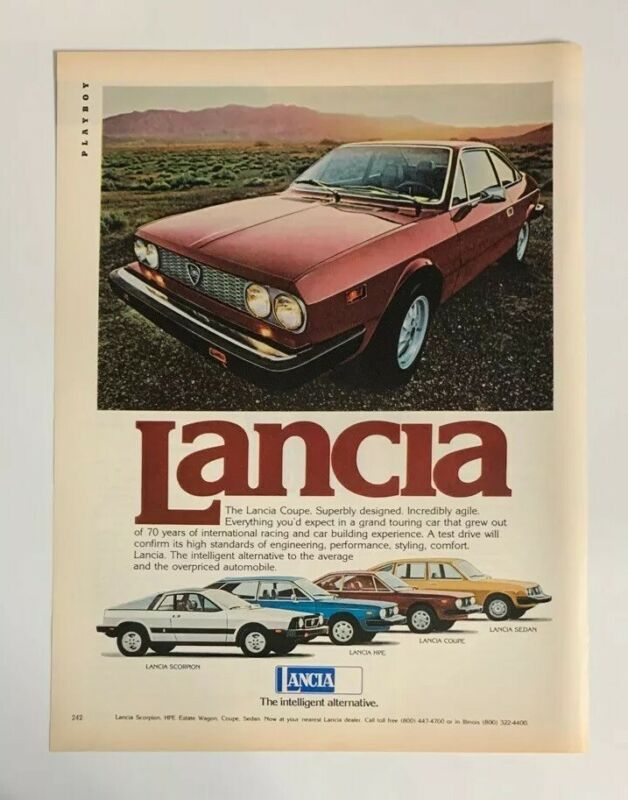 1977 Lancia Coupe Print Ad The Intelligent Alternative Italy Made 2 Door