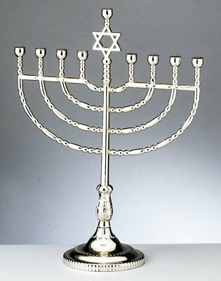Traditional Hanukkah Menorah - Star of David - Silvertone Finish - Chanukkah](Menorah Tradition)