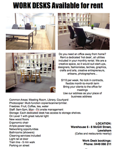 WORK BENCH SPACE & DESK SPACE at The ARK - Creative Space Petersham Marrickville Area Preview