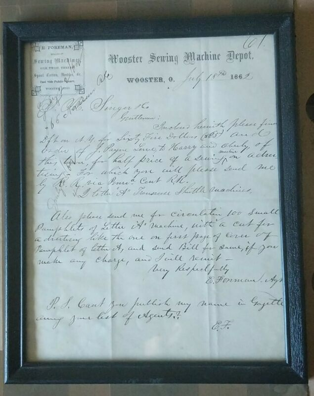 Wooster Sewing Machine Depot Advertisement In Frame 1862 Wooster Ohio