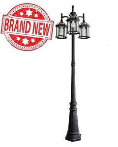 Outdoor lamp post ebay portfolio outdoor lamp post pole mount light lighting fixture 3 lights lantern mozeypictures Gallery
