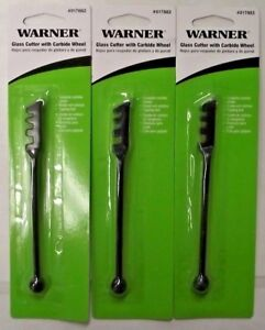 Warner 017882 Glass Cutter With Carbide Wheel 3 Packs