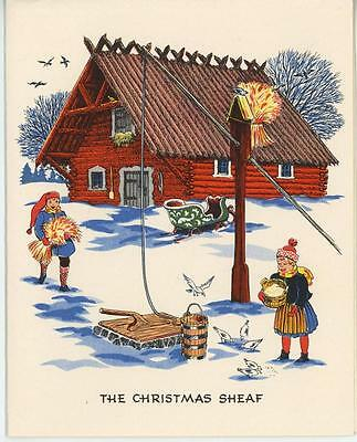 VINTAGE SWEDISH HOUSE CHRISTMAS WHEAT SHEAF GINGER COOKIES RECIPE CARD ART - Ginger Cookies Recipe