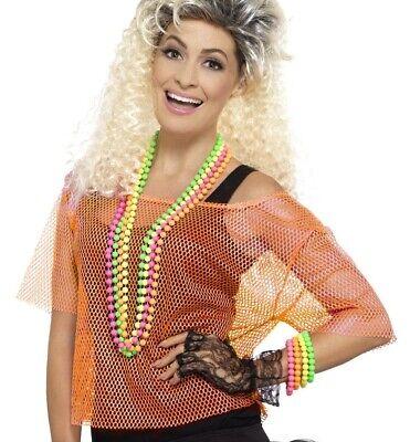Damen 80er Jahre 1980er Kostüm Netzoberteil Fischnetz Netz Orange T-Shirt - Fischnetz Shirt Kostüm