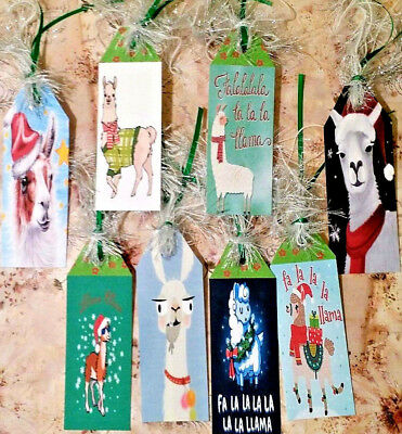Christmas Llama (8 Christmas Llama~Gift Hang Tags~Scrapbooking~Card Craft Making Embellishments)