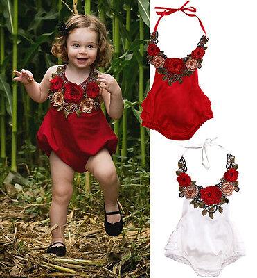 Newborn Toddler Baby Girls Flower Halter Romper Jumpsuit Sunsuit Clothes 0-3T