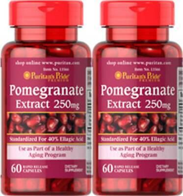 Puritan's Pride Pomegranate Extract 250 mg 120 Cap 40% Ellagic Acid Liver +Bonus 250 Mg 120 Caps