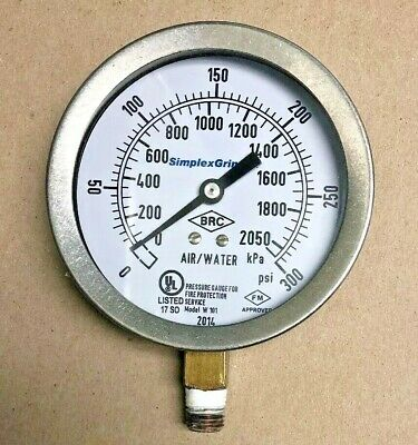 Simplex Grinnell Air Water Pressure Gauge Fire Protection Industrial Steampunk