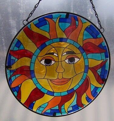 Glass Metal Suncatcher (Suncatcher Hanging Painted Glass & Metal Smiling Sun NEW 10