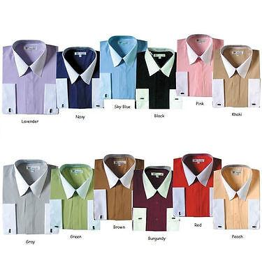 Men's French Cuff Solid Dress Shirt 03F2 Classic Fit Contrast Collar Collar French Cuff Dress Shirt