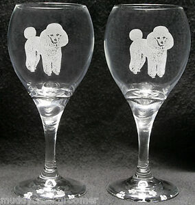 New Unique Beautiful Poodle Etched On Wine Glasses