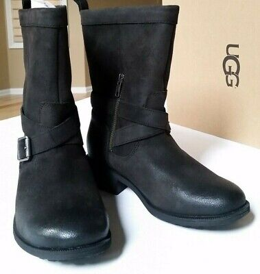 UGG Glendale Water Resistant Lined Leather Boot, Color Black, Women Size 6.5