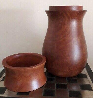 Interesting Vintage Turned Natural Wood Lidded Urn / Storage Container / Vase