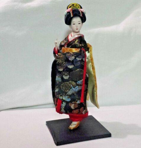 "Vtg Japanese Geisha Kimono Porcelain Doll Figure Asian Decor 12"" on Flat Stand"