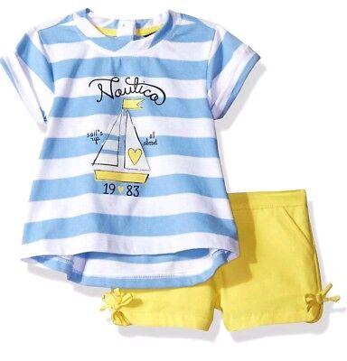 Nautica Childrens Apparel NAK0300Q Girls Knit Top W/ Short Set 4T NWT
