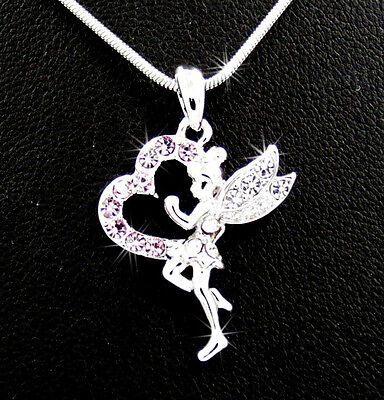 Tinkerbell Heart Charm - Tinkerbell Fairy Heart Baby Pink Crystal Pendant Charm Silver Tone Necklace PK-3