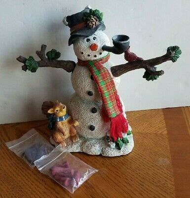 Incense Burner Light Up Nose Snowman with Pipe Squirrel Cardinal + Incense 10""