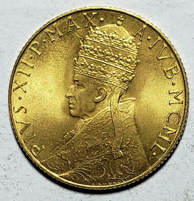 Vatican City 100 Lire Gold 1950, Gem Brilliant Uncirculated, Pius XII, Holy Year