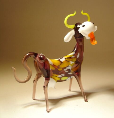 Blown Glass Art Figurine Farm Animal Comic Purple Happy COW