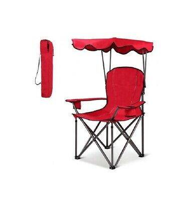 red portable folding beach chair with canopy