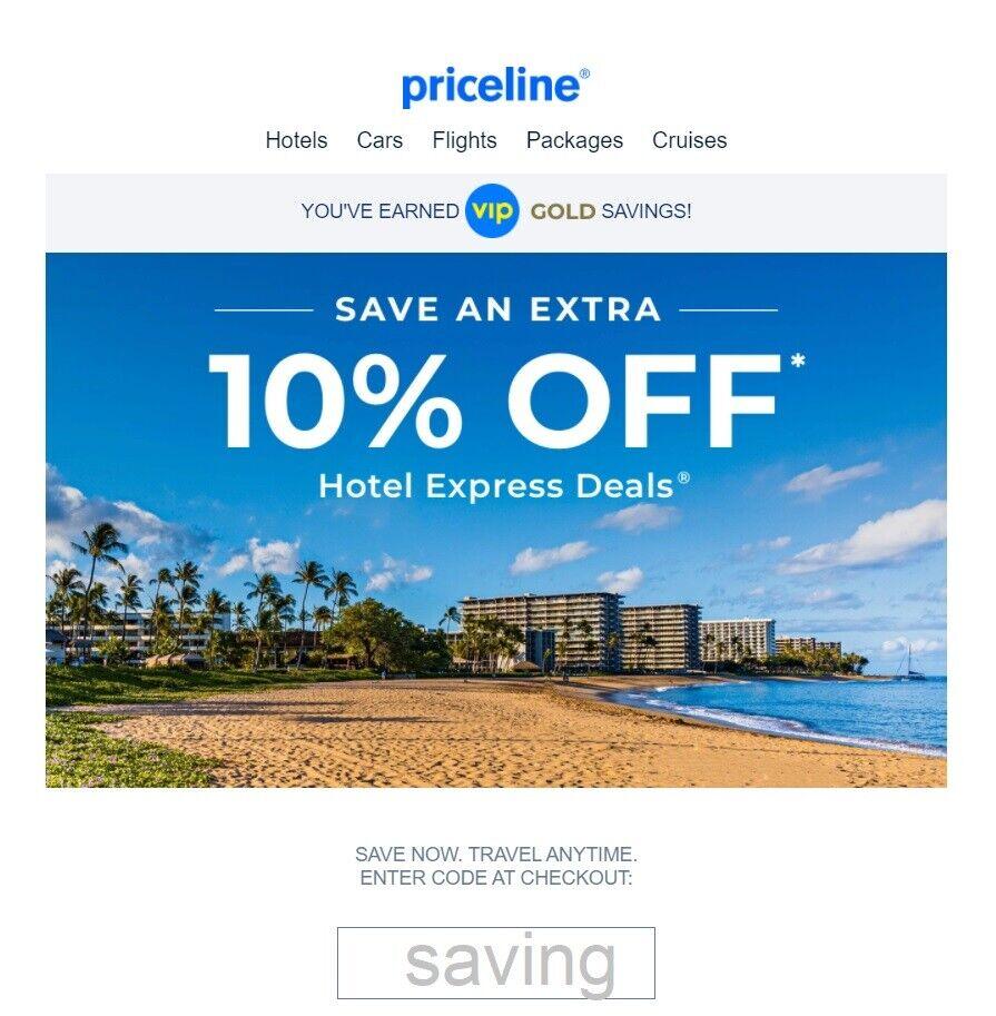 Priceline.com 1 Unique Coupon Code 10 Off Hotel Express Deals 10/16/21 Max 50 - $3.99