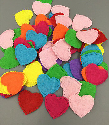 100PCS Mixed Colors Heart-shaped Die Cut Felt Circle Cardmaking decoration 26mm