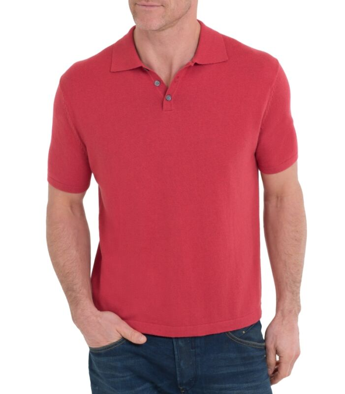 WoolOvers Cashmere & Cotton Polo Shirt Russet Red Unisex Small