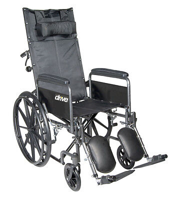 Silver Sport Reclining Wheelchair w/Full Arms & Elevating Leg Rest, 18Inch Seat