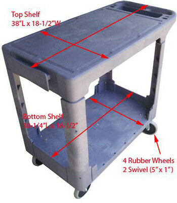 Plastic 2 Shelves Trays Flat Service Cart 500lbs Capacity