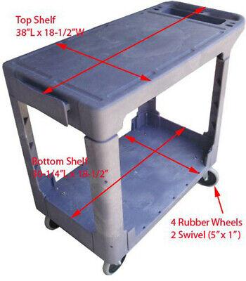 Plastic 2 Shelves Trays Flat Service Cart 500lbs Capacity
