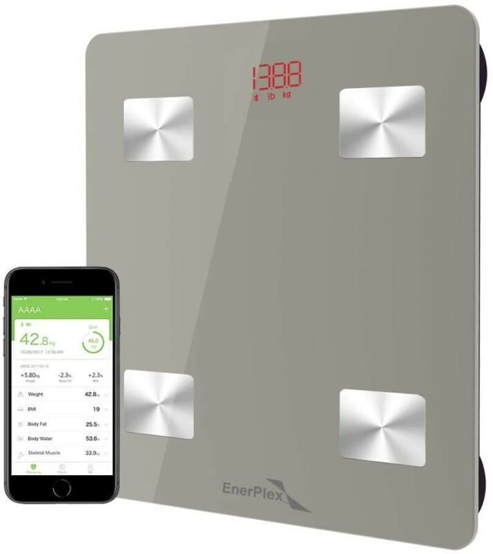 EnerPlex Fit 2020 Model Body Composition Smart Scale, 396 lbs, Grey
