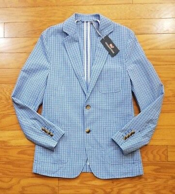 Mens Vineyard Vines Suit Jacket Blazer Blue White Checkered Small NWT $395