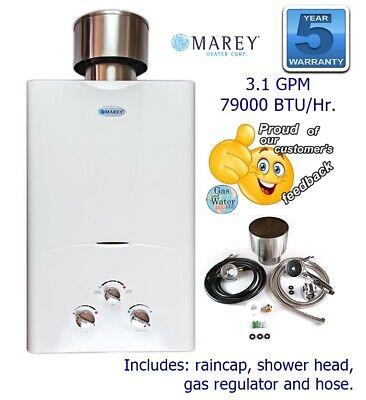 Tankless Gas Water Heater 3.1 GPM LPG (Propane) w/Accesories by Marey GA10LPOB