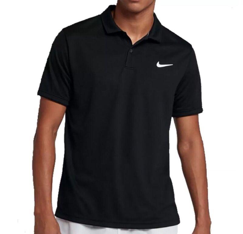Nike Mens Court Dry Fit Polo Team Shirt Black White 939137 010 Medium Large $45