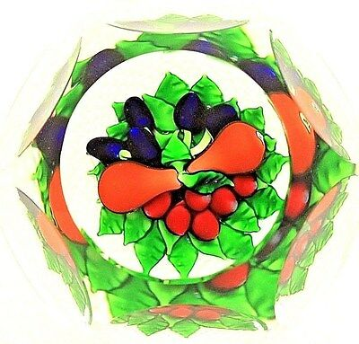 Gorgeous SAINT LOUIS Multifaceted FRUIT Latticino BASKET Art Glass PAPERWEIGHT