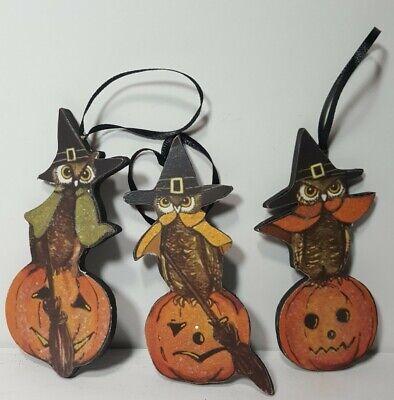 New Set Of 3 Bethany Lowe Halloween Owl Wood Ornaments