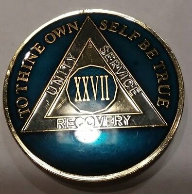 27 Year AA Sobriety Chip Challenge Coin 1 3/4 Inch XXVII Midnight Blue Enamel  for sale  Shipping to Canada