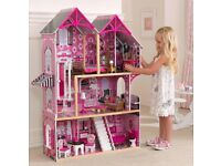 KidKraft over 4ft tall Couture Dollhouse +14 Pieces of Furniture used