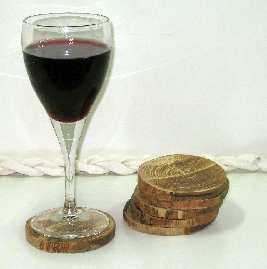6 dessous de verre tranches de bois (artisanat)