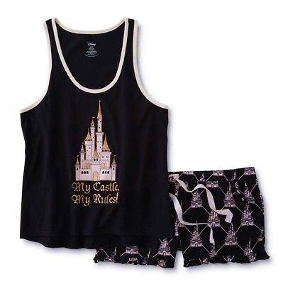 Castle Pajamas (Disney Princess Castle Womens Pajamas Size LARGE Tank Top Shorts Summer Set NEW )