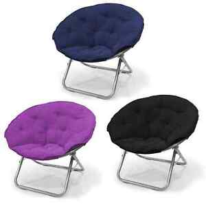 Folding saucer chair mainstays large microsuede furniture multiple