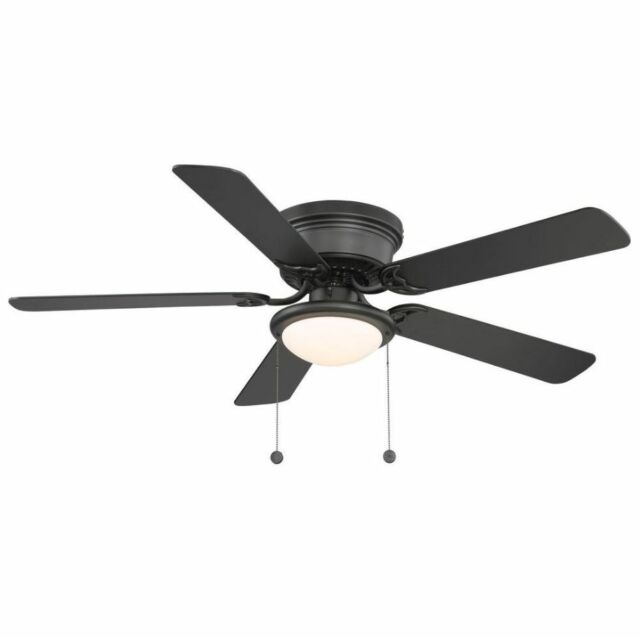 Hampton bay hugger 52 in black ceiling fan with light kit ebay black hugger ceiling fan flush mount led light low profile reversible new aloadofball Image collections