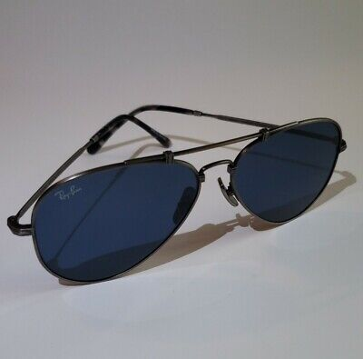 RAY-BAN RB8125 Antique Silver Sunglasses Special Edition Blue lenses (Blue Tinted Aviators)