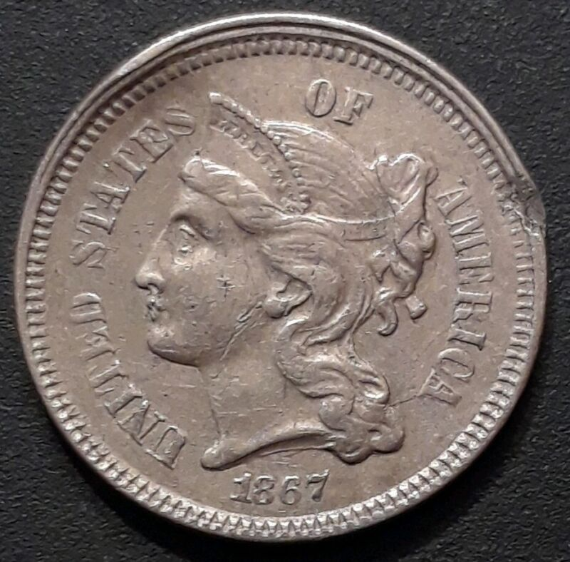 1867 3CN Three Cent Nickel XF