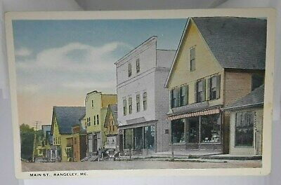 Maine Postcard  Main St. Rangeley ME street view Stores Shops (Main St Stores)