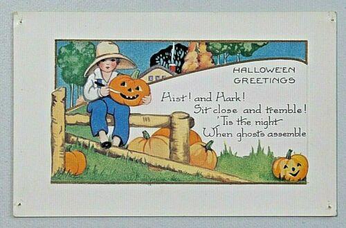 HALLOWEEN GREETINGS  Hist & Hark Whitney Made Embossed Postcard 8595